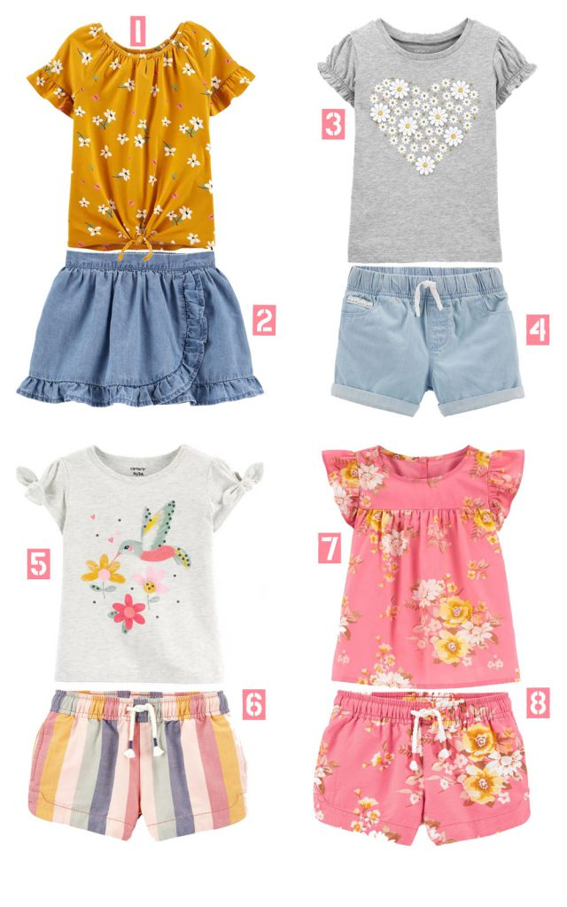 Carters outfits for toddler girl with shorts