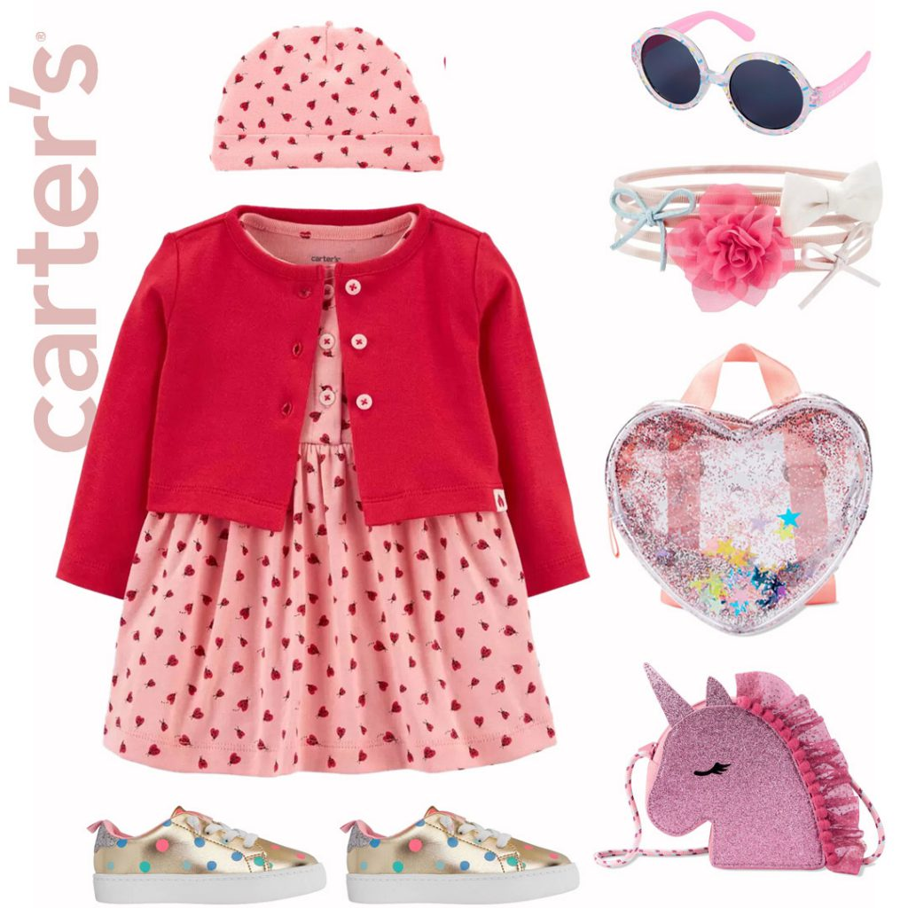 Carters outfit with hearts for baby girls