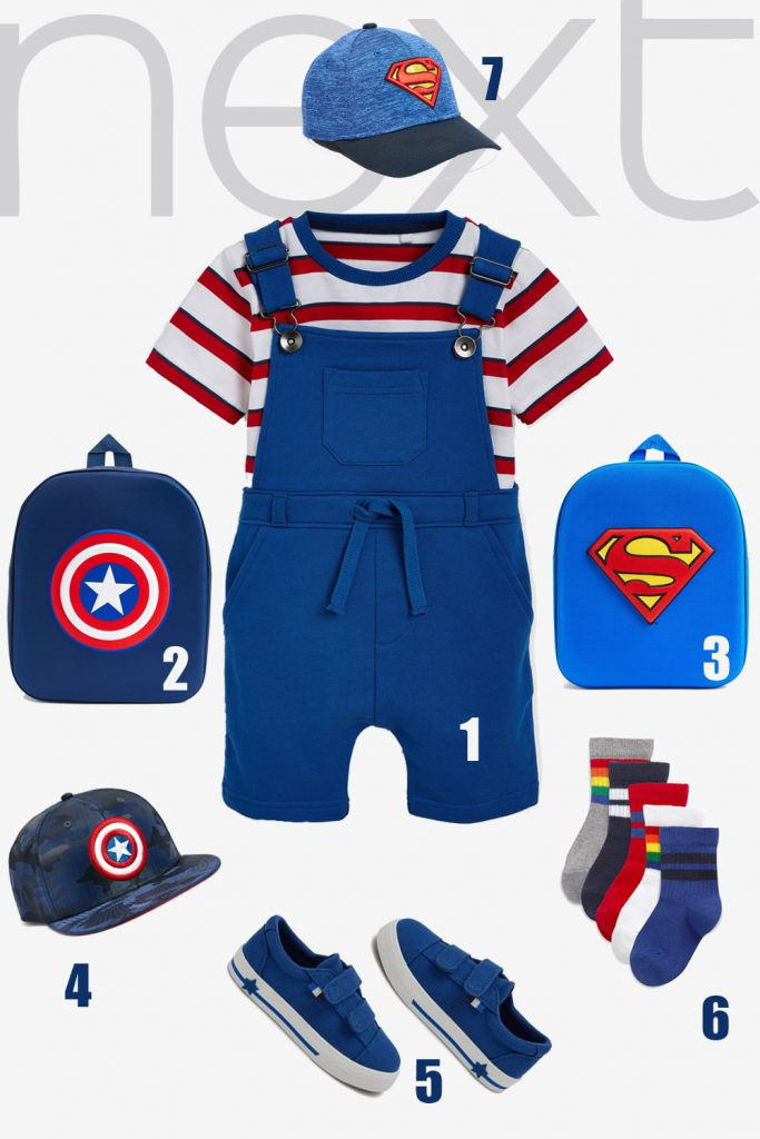 Boy Summer Outfit with Superhero Appliques   Next US