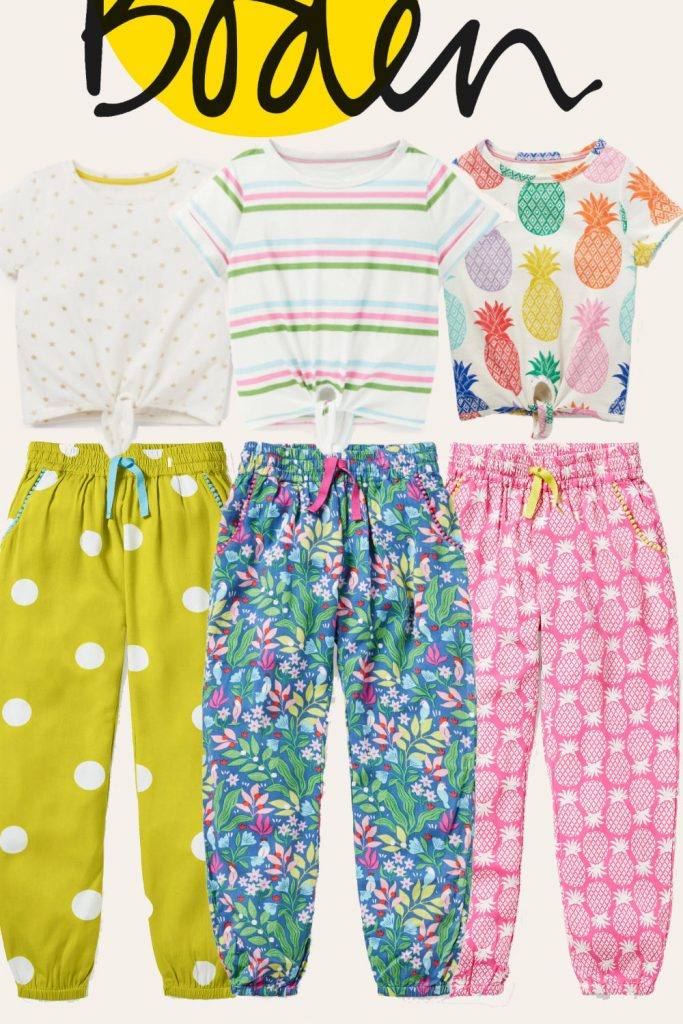 Boden Girls Set: Tie-front T-shirt and Pants