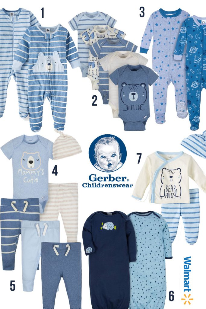 Gerber baby boy clothing | In blue colors