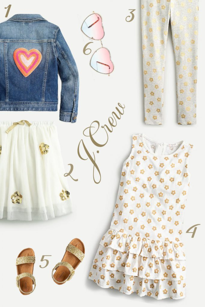 """Summer """"Gold"""" outfit with floral and hearts patterns"""