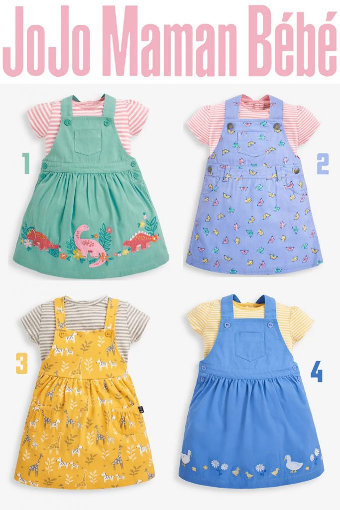 Pinafore dress sets with cute animal prints